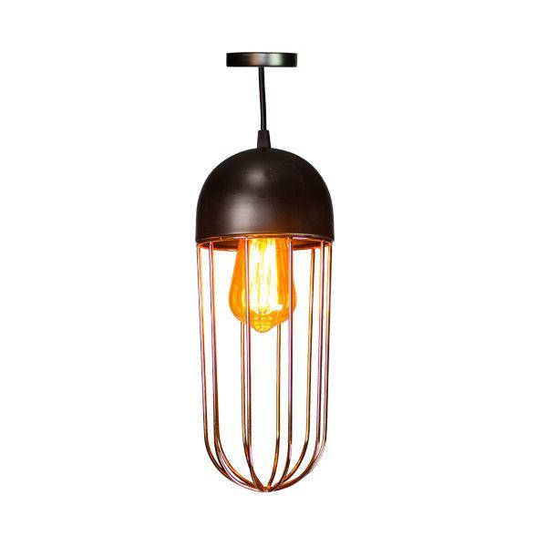 Luminária Pendente De Ferro Cor Cobre Oval  - Arrivo Mobile