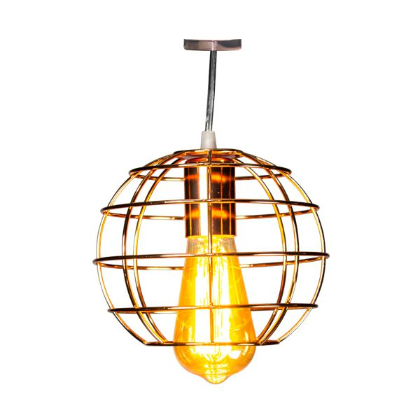 Luminária Pendente De Ferro Cor Cobre Redondada  - Arrivo Mobile