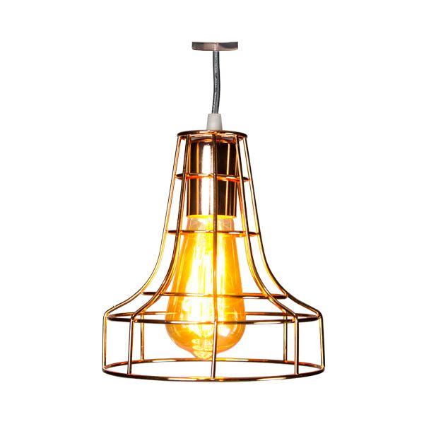 Luminária Pendente De Ferro Dourada  - Arrivo Mobile
