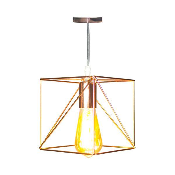 Luminária Pendente De Ferro Dourada Quadrados  - Arrivo Mobile
