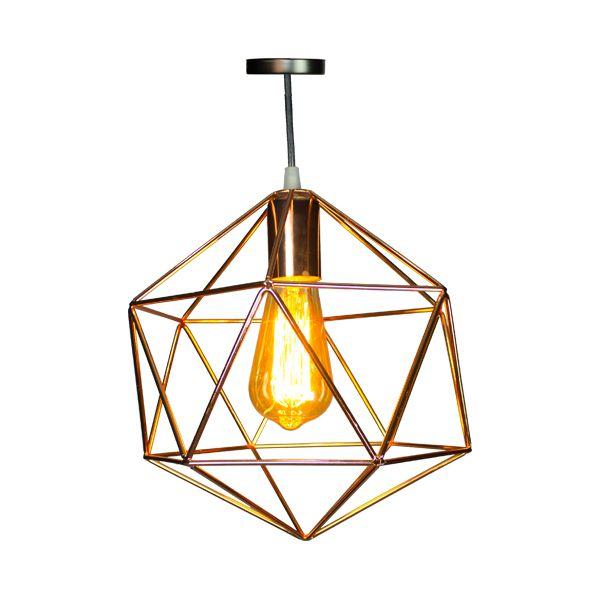 Luminária Pendente De Ferro Dourada Triângulos  - Arrivo Mobile