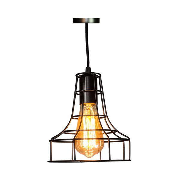 Luminária Pendente de Ferro Preta   - Arrivo Mobile