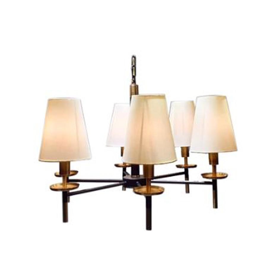 Lustre 6 Lâmpadas Cúpulas Brancas Metal Bronze 43x69x69cm  - Arrivo Mobile