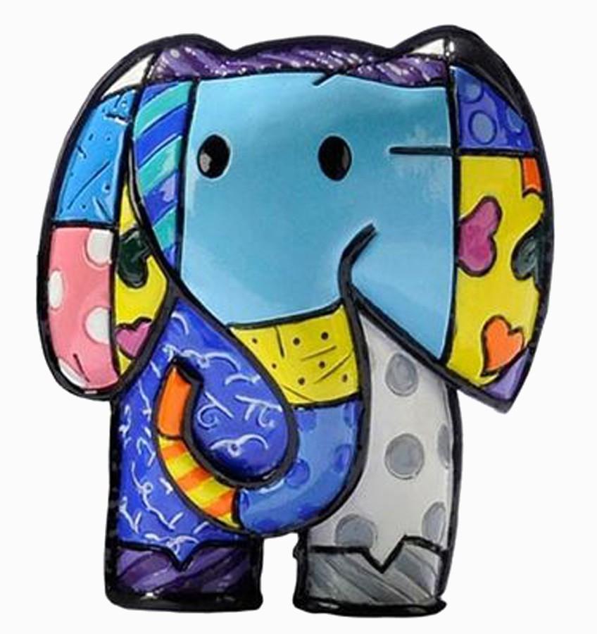 """Mini Escultura Romero Britto Elefante """"Lucky"""" - Resina  - Arrivo Mobile"""