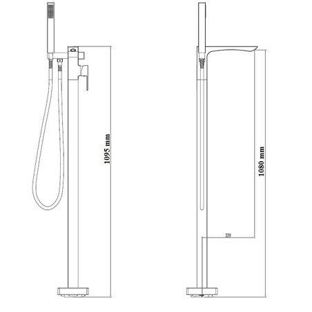Misturador Monoc Piso Para Banheira Vercci  - Arrivo Mobile