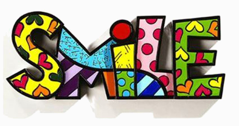 Palavra Romero Britto Smile - Resina - 9cm x 22cm x 2cm  - Arrivo Mobile