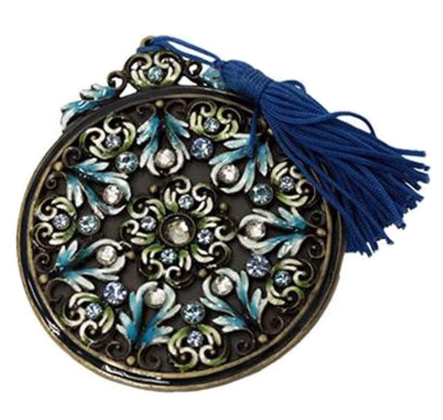 Pingente Pedraria Blue Em Metal 8x7x7cm  - Arrivo Mobile