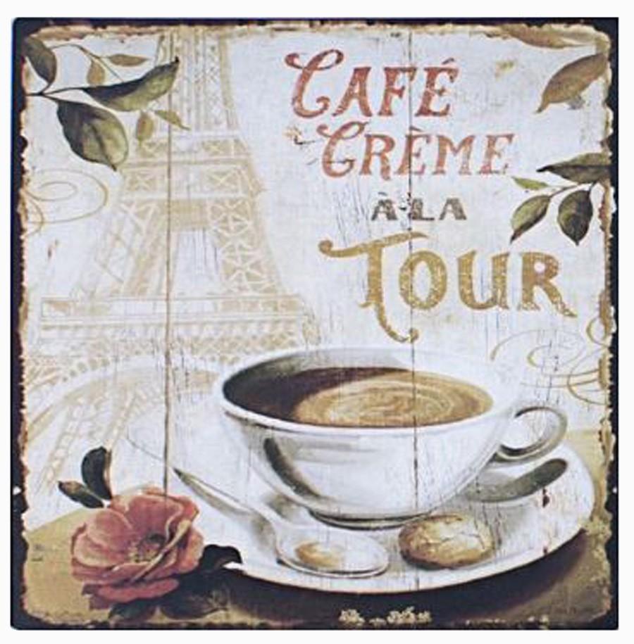 Placa De Metal Cafe A La Tou Oldway 25x25cm  - Arrivo Mobile