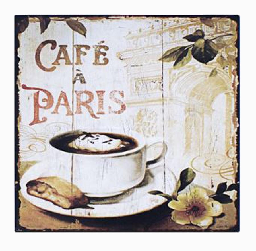 Placa De Metal Cafe De Paris Ldway 25x25cm  - Arrivo Mobile