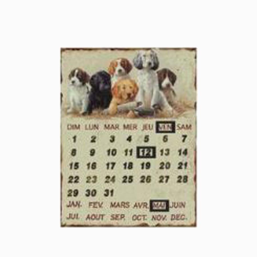 Placa De Metal Calendário Dogs 33x25cm  - Arrivo Mobile