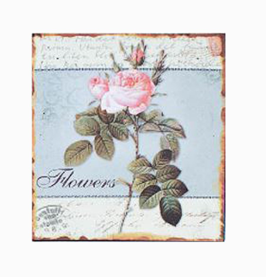 Placa De Metal Flowers Oldway 25x25cm  - Arrivo Mobile