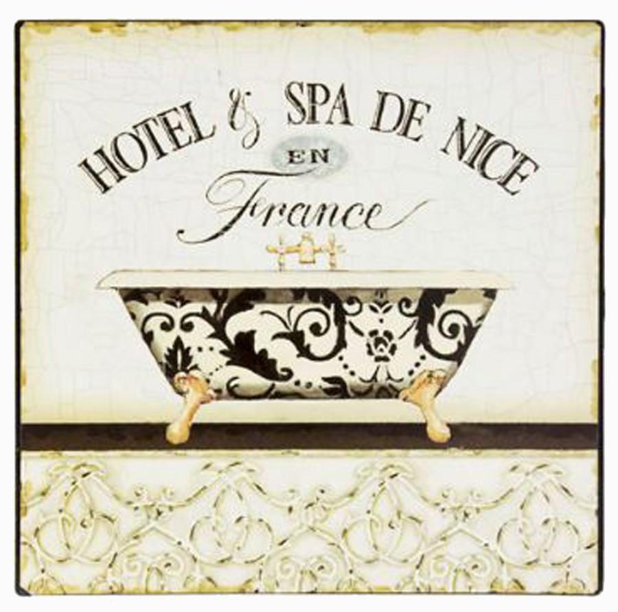 Placa De Metal Hotel Nice Em France Oldway 25x25cm  - Arrivo Mobile