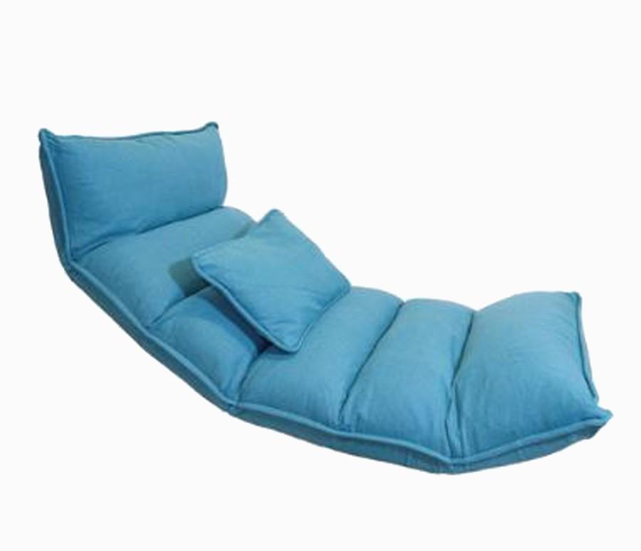 Poltrona De Chão Reclinável Linho Azul 170x70x17cm  - Arrivo Mobile