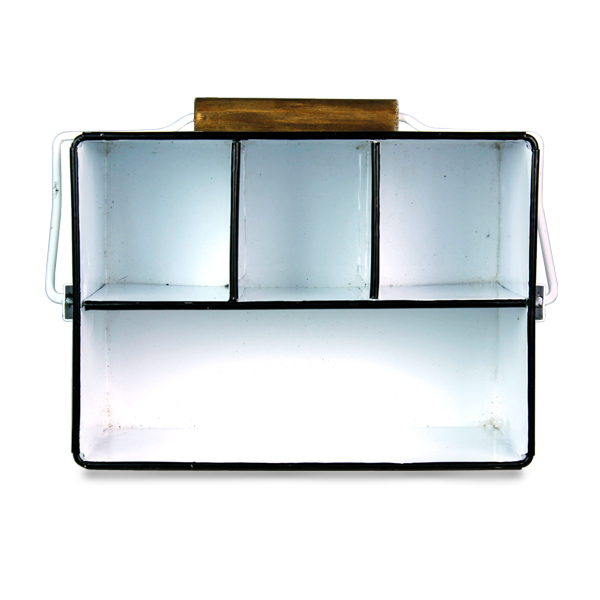 Porta  Objetos com Alça Esmaltado Branco 27x18x23cm  - Arrivo Mobile