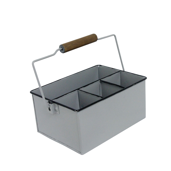 Porta  Objetos Com Alça Esmaltado Cinza 27x18x23cm  - Arrivo Mobile