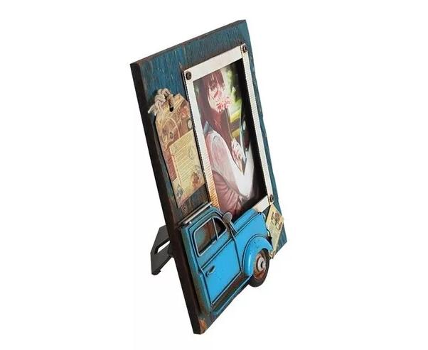 Porta-Retrato Com Fusca Azul Oldway 23x18x2cm  - Arrivo Mobile