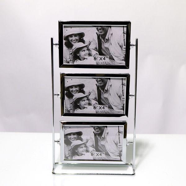Porta Retrato De Mesa Em Metal Prata 6 Fotos  - Arrivo Mobile