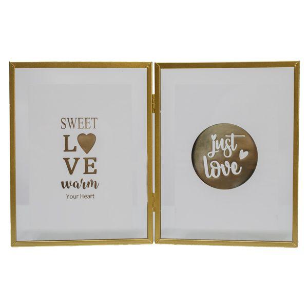 Porta Retrato Duplo Vidro Dourado Em Metal Sweet Love  - Arrivo Mobile