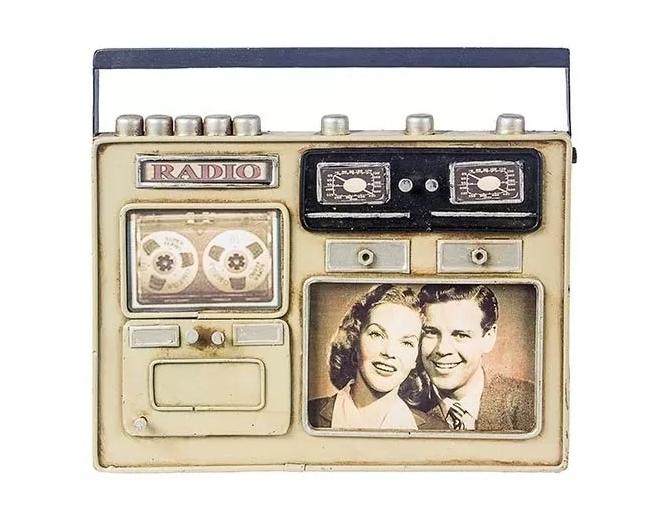 Porta Retrato Ferro Mini Rádio Bege Oldway Metal 20x24x3,5cm  - Arrivo Mobile