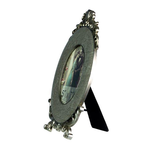 Porta Retrato Oval Prata Envelhecida  - Arrivo Mobile