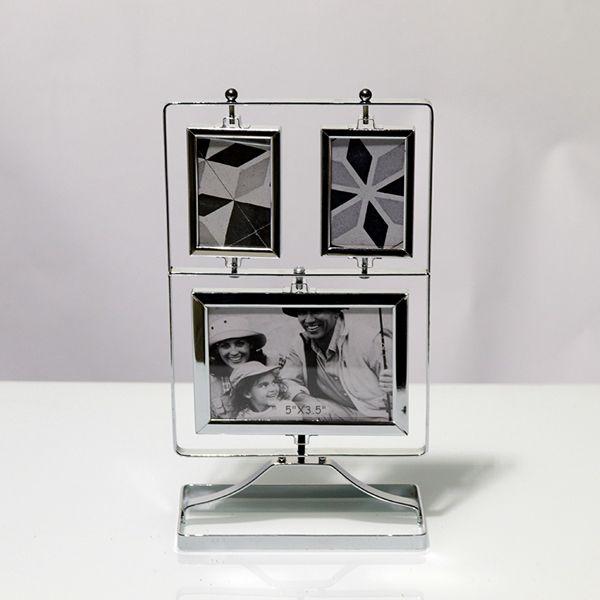 Porta Retrato Prata De Mesa Em Metal 6 Fotos  - Arrivo Mobile