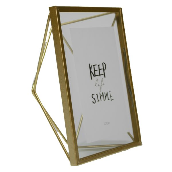 Porta Retrato Vidro Metal Dourado 20x15cm  - Arrivo Mobile