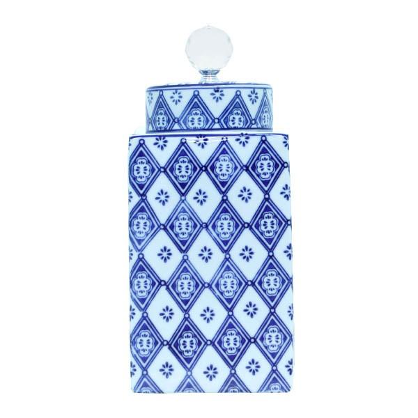 Pote De Porcelana Quadrado Com Tampa Azul Oldway 31x14x14cm  - Arrivo Mobile