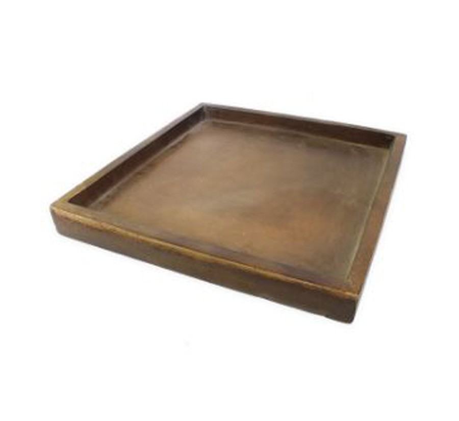 Prato Quadrado Para Vaso Composto De Mineral 38,5x4cm  - Arrivo Mobile