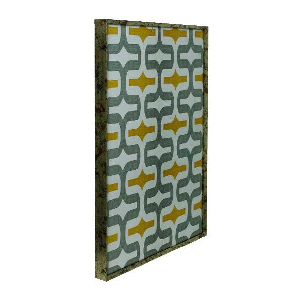 Quadro com Moldura Desenho Simétrico Cinza e Branco   - Arrivo Mobile