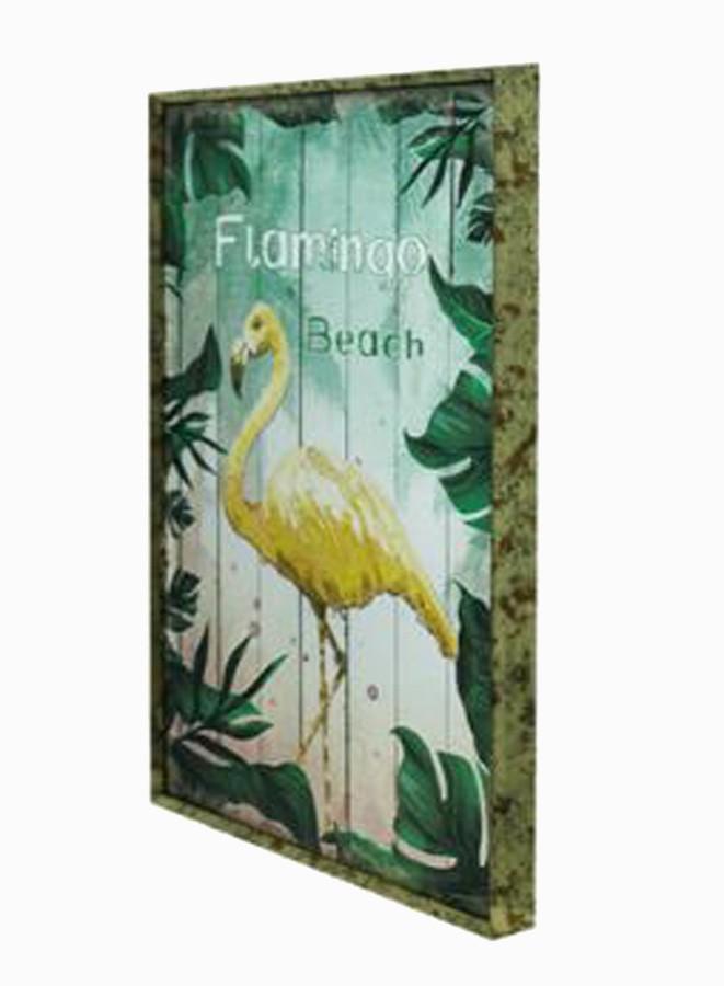 Quadro Com Moldura Folhas Flamingo Amarelo  - Arrivo Mobile