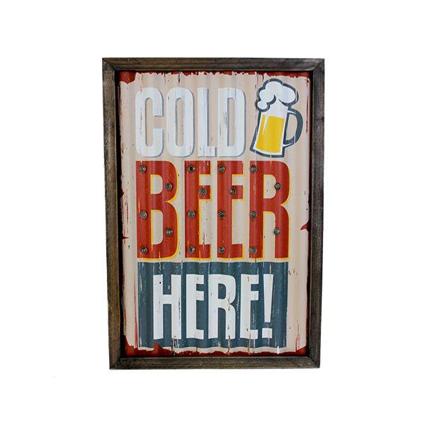 Quadro Em Metal Com Led Cold Beer Here Oldway  43x30x4cm  - Arrivo Mobile