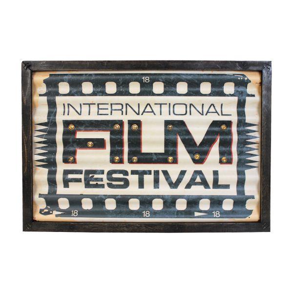 Quadro Em Metal Com Led Film Festival Oldway 30x43x4cm  - Arrivo Mobile