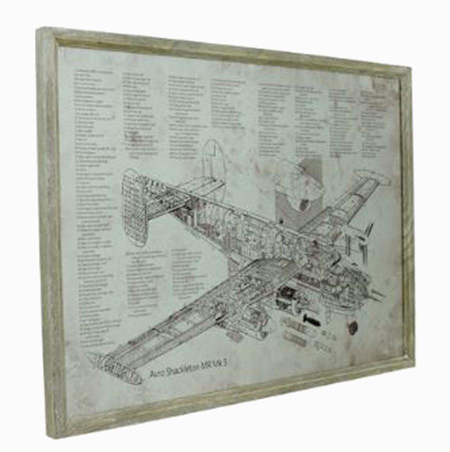 Quadro Estrutura Aviao Mr Mk3 Oldway 60x80x3cm  - Arrivo Mobile
