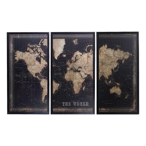 Quadro Mapa Mundi Jogo 3 Partes  - Arrivo Mobile