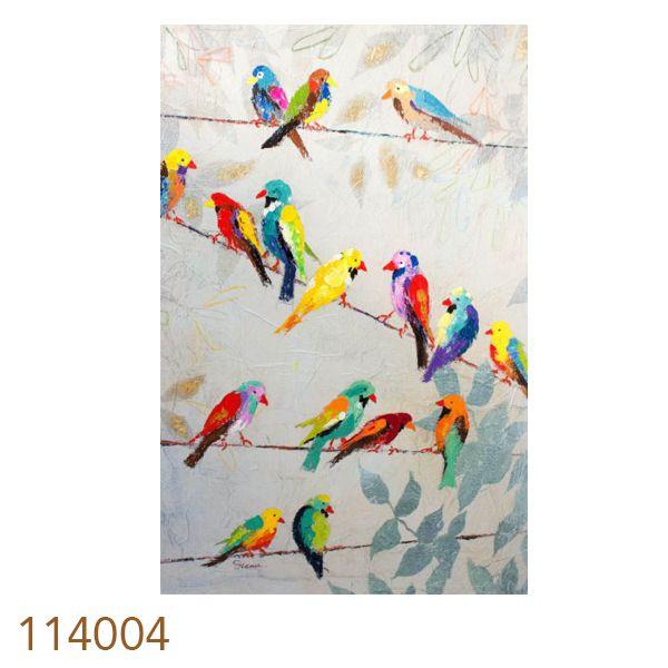 Quadro Pintura Pássaros Coloridos  - Arrivo Mobile