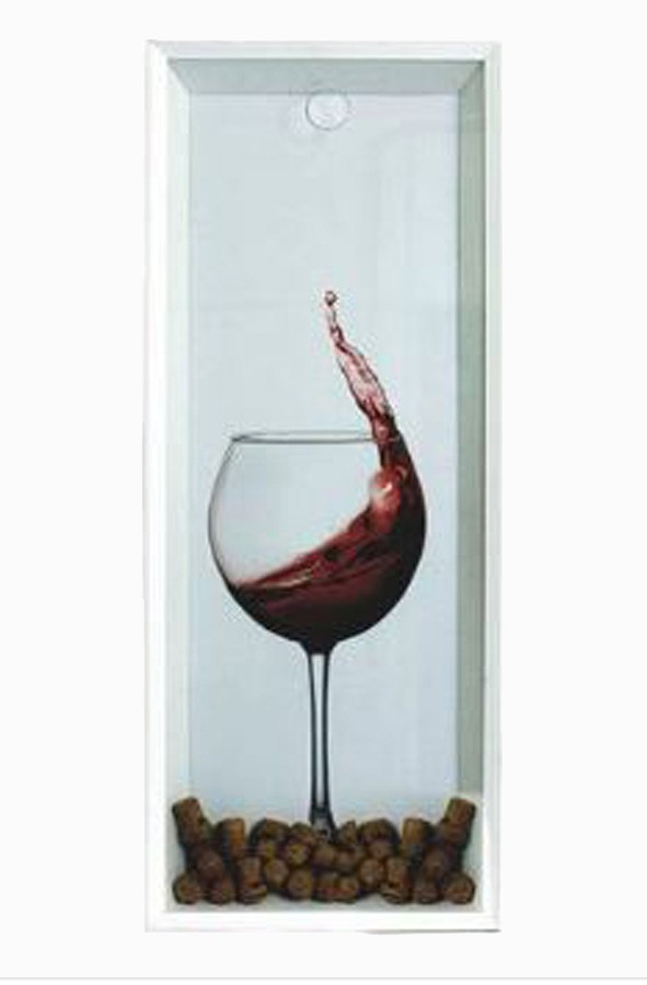 Quadro Porta Rolhas Taça Vinho Fundo Branco  - Arrivo Mobile
