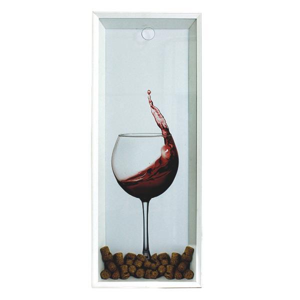 Quadro Porta Rolhas Taça Vinho Fundo Branco 90x35x7cm  - Arrivo Mobile
