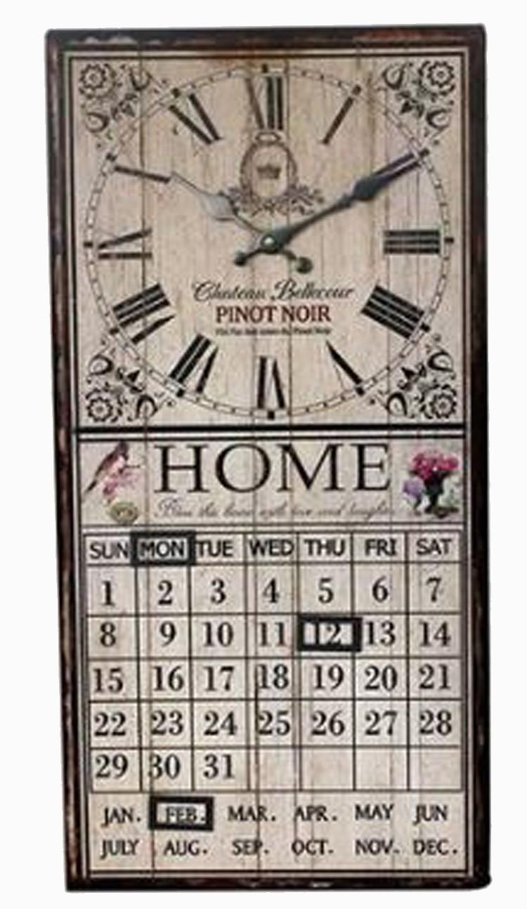 Relógio Com Calendário Branco Home 60x30x4cm  - Arrivo Mobile