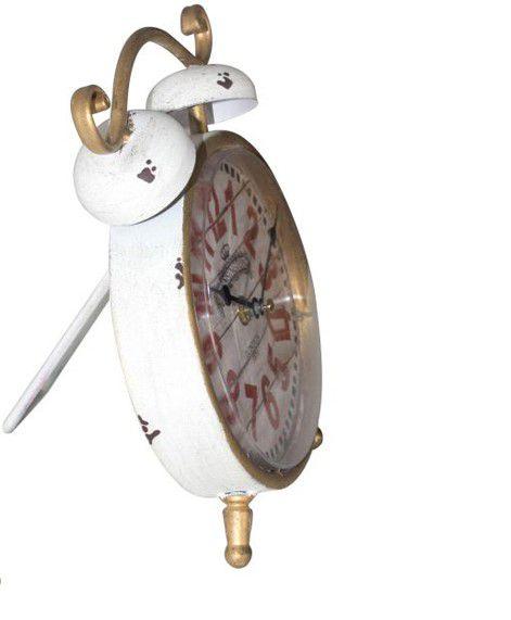 Relógio De Mesa Clássico Dourado Com Branco Oldway 23x16x5cm  - Arrivo Mobile