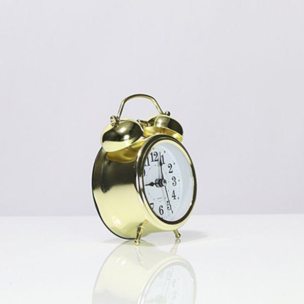 Relógio De Mesa Com Despertador Pequeno Dourado  - Arrivo Mobile
