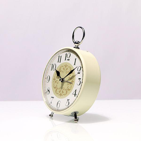 Relógio De Mesa Pequeno Branco Com Dourado  - Arrivo Mobile