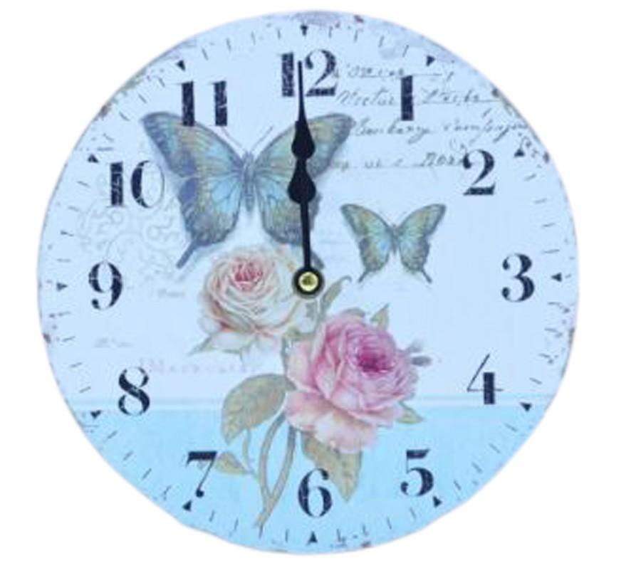 Relógio De Parede Flores E Borboletas  - Arrivo Mobile