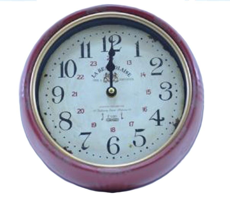 Relógio De Parede Retro La Beaujoalaise Vermelho  - Arrivo Mobile