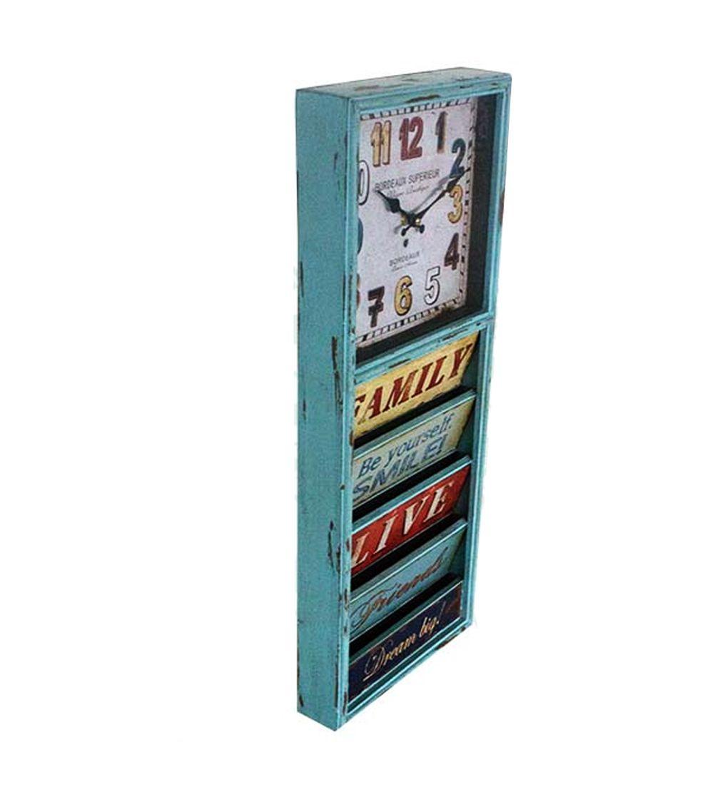 Relógio de Parede Revisteiro Colorido Vintage 65x26x6,5cm  - Arrivo Mobile