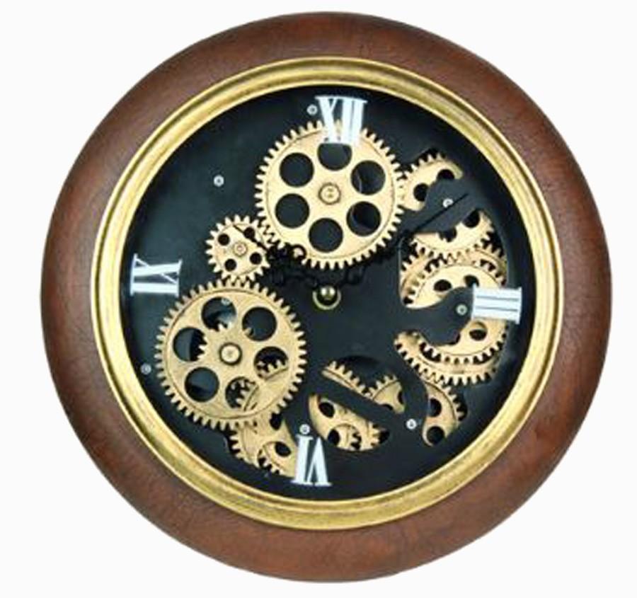 Relógio Parede Pu Marrom Fundo Preto  - Arrivo Mobile