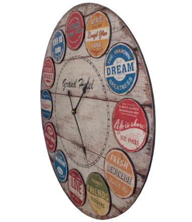 Relógio Parede Rótulos Colorido Oldway  - Arrivo Mobile
