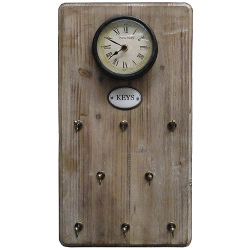 Relógio Porta Chaves Natural Keys Oldway 48x26x5cm  - Arrivo Mobile