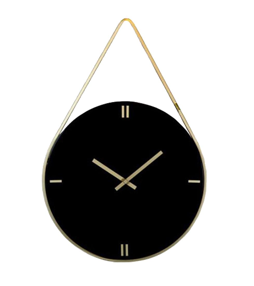 Relógio Preto Laca Alça Dourada  - Arrivo Mobile