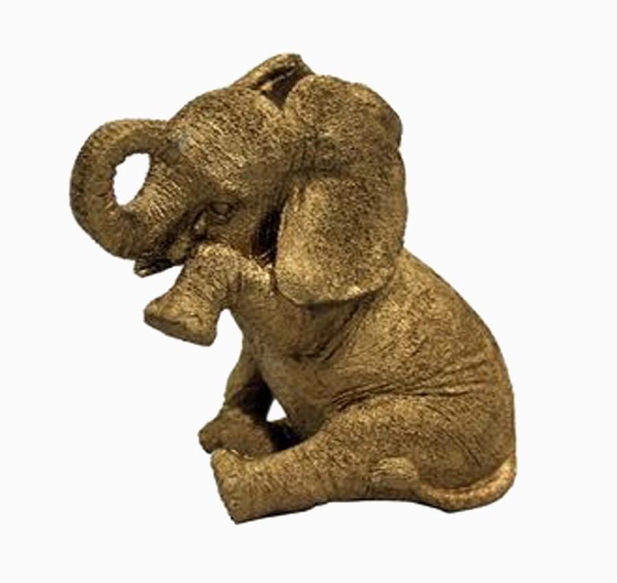 Resina Dourada - Elefante veludo Lágrima P  - Arrivo Mobile