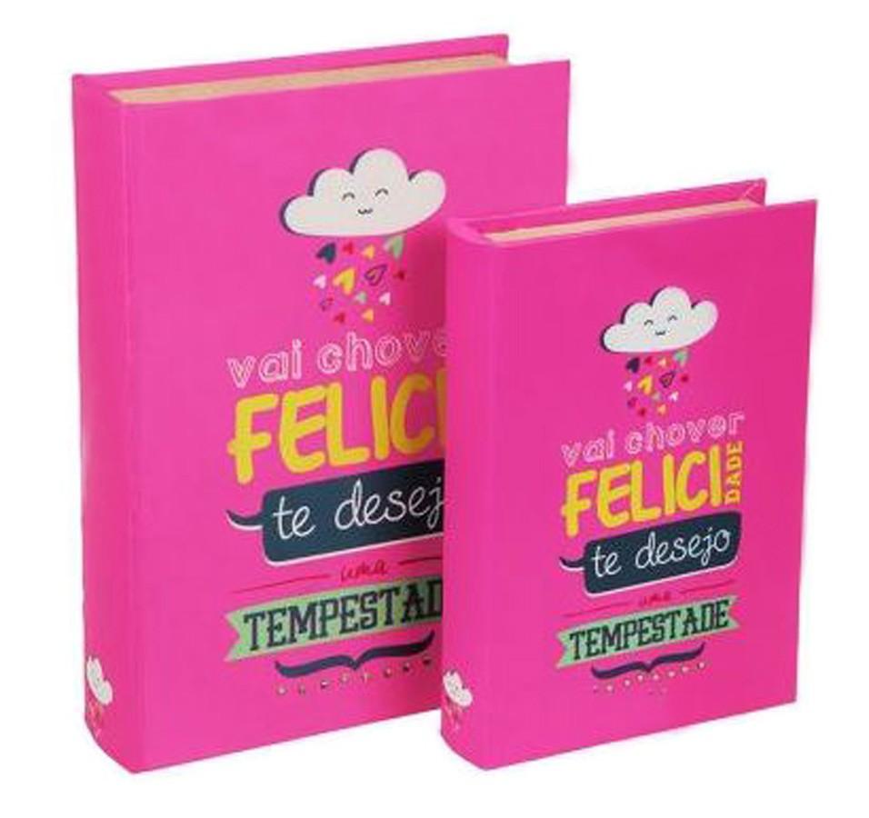 S/2 Livro Caixa Felicidade 30x20x7cm  - Arrivo Mobile